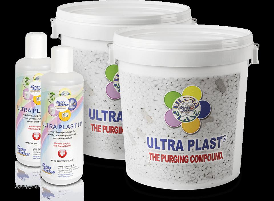 čistící materiál ULTRA SYSTEM určený pro vstřikolisy, extrudéry a vyfukovací stroje
